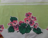 "Fabulous Vintage Tablecloth -- Chartreuse with Coral Pink and Magenta Flowers -- 52"" x 60"""