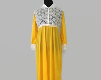 Lacy Sunny Daffodil Yellow Long Sleeve Empire Waist Edwardian Victorian Nightie Nightie Nightgown Nigh Gown Lingerie