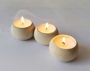 Set of 3 wooden tea lights holders/ modern home decor / scandinavian style / minimalist centerpiece