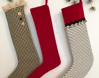 Old Fashioned Red Velvet Christmas Stocking