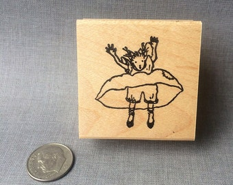 Free Falling Little Lady Rubber Stamp