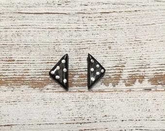 Ceramic Earrings, Black, Triangle, Modern, Unique Gift, Minimal, Handmade Jewelry, Modern Earrings, Ceramics, Tiny, Ceramic Jewelry, Spring