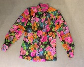 Bright floral sheer blouse . 70s vintage puff sleeves . Bohemian chic top