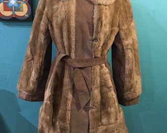 60s faux fur coat . Tan 70s fake fur belted babe