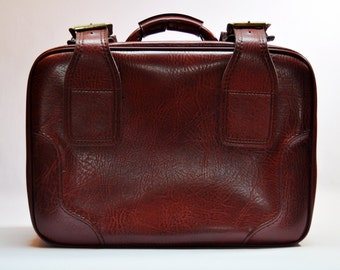 Vintage Oxblood Briefcase Train Luggage Suitcase Vinyl Travel Case