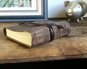 Rustic Leather Journal, Hand-Bound Journal by The Orange Windmill on Etsy 1671