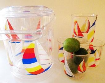 Culver Sailboat Ice Bucket and Glasses, Retro Barware, Nautical Decor, Yacht Decor