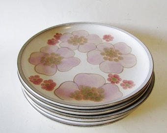 Denby Gypsy Plates, Set of Five Plates, Lavender and Pink Dinner Plates, Boho Chic