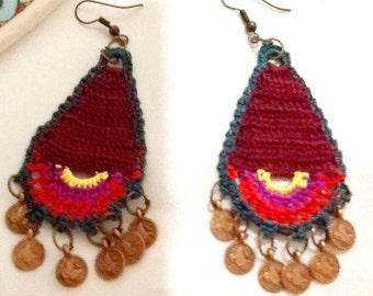 SALE----GYPSY EARRINGS - bohemian earrings -belly dance earrings -ethnic earrings -gypsy jewelry-bohemian jewelry