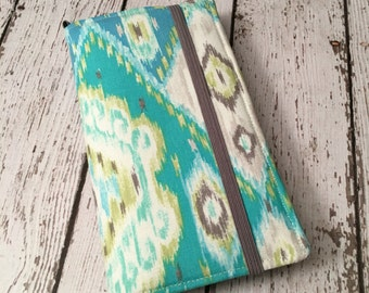 Samsung Galaxy wallet, Galaxy case - Blue and green ikat print with removable gel case