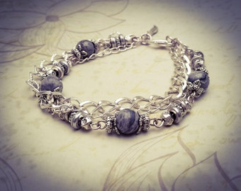 Grey Jasper/Map Stone Natural Gemstone Bead Silver Plated Layered Boho Chain Bracelet - [B1]