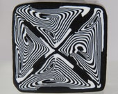 Large unbaked  polymer clay cane, Mirror clay cane, black and white, square polymer clay cane, Abstract.