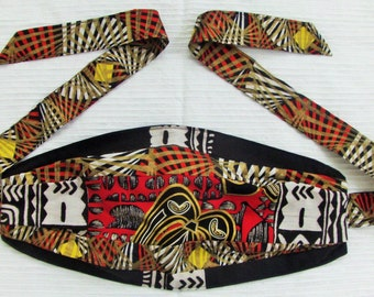Reversible Ethnic Patchwork Dread Wrap/Hair Band