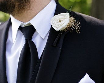 Ivory Rose Boutonniere Made to Order- Vintage Collection, Groomsmen, Buttonhole, Wedding, Sola Flower, Wedding, Wedding Flowers