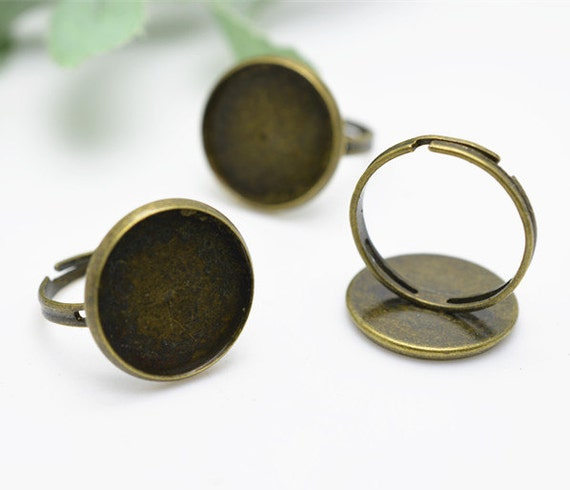 Ring Blanks -10pcs 16mm Antique Bronze Iron Adjustable Cameo Setting Ring Base Setting LB404-3