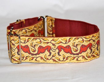 """2"""" Martingale Dog Collar Bowing Greyhounds - Gold and Red"""