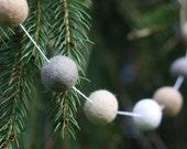Creamy Dreamy Christmas Garland- Felt Ball Garland- Cream Beige White Gray- Wool Felt Ball Garland- Christmas Tree Garland- Mantel Decor