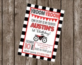 """Customized 5x7"""" Printable OR Printed Invitation WITH Envelopes - Black Red Checkered Flag Motorcycle Dirt Bike - Or Match ANY theme in Shop"""
