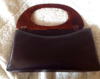 Vintage 1960 Dark Brown Faux Leather Handbag Tortoise Shell Handles Clutch