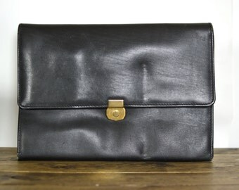Vintage Black Leather Zip Around Portfolio Briefcase File Organizer Attache Bag