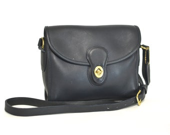 Navy Blue COACH Bag - Vintage Medium Shoulder Purse - Leather