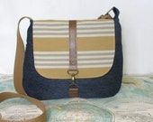 Nashville- Crossbody messenger bag // Stripes // Adjustable strap // Vegan // Summer purse // Travel purse// Yellow// Stripes//Ready to ship