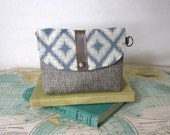Stardust . Utility pouch // Make up bag // Clutch // Small pouch // Bridesmaid gift  // Gift under 20 // Ikat // Ready to ship