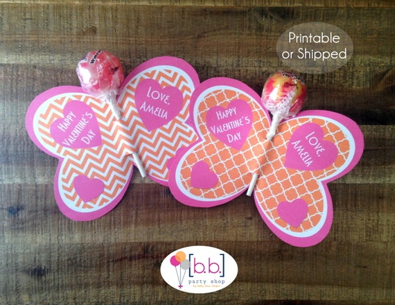 Butterfly Lollipop Personalized Valentine's Day Cards (Orange & PInk)- Printable or Shipped