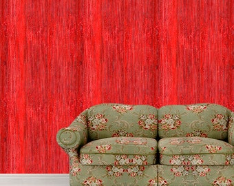 Removable Wallpaper-Red Grunge- Peel & Stick Self Adhesive Fabric Temporary Wallpaper-Repositionable-Reusable- FAST. EASY.