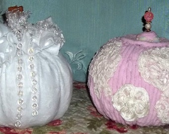 Pumpkins,Two Pumpkins, Shabby Chic, Pink Chenille, Fall Decor, White Chenille, Altered Pumpkins, Embellished Pumpkins