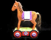 Papier Mache Trojan Horse Pull-toy