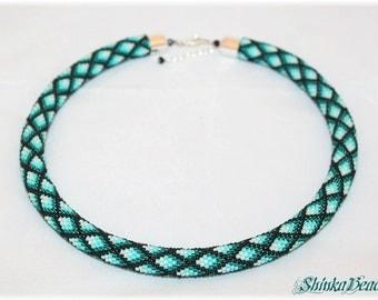 Ombre Teal geometric bead crochet necklace rhombus pattern  handmade