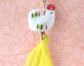 Ceramic Chicken Necklace/ Brass Chain/ Tassel Pendant