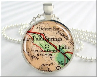 Palm Springs Map Necklace, Resin Charm, California Resort Map Pendant, Vacation Picture Jewelry, Round Silver, Map Charm (733RS)