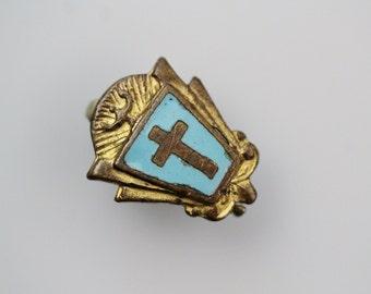 Vintage Brass Enamel Religious Cross Pin - Miniature Cross Lapel Pin - Brass blue Enamel christian Pin