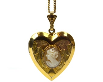 Antique Cameo Heart Shaped 12K GF Locket Pendant Necklace, Vintage Union Gold Filled Chain Necklace, Victorian Edwardian Etched Charm WH Co.
