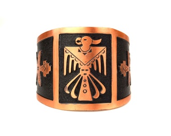 Large Vintage Bell Trading Co Copper Cuff Bracelet // 1950s Albuquerque, New Mexico Tourist Souvenir // Southwestern Native American Zuni