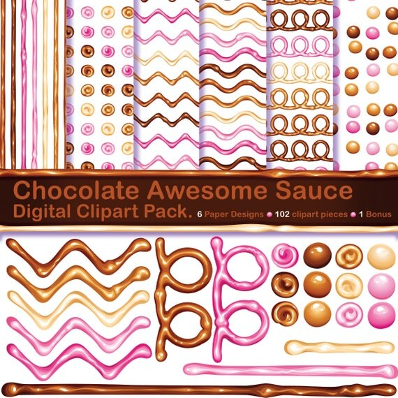 Chocolate Awesome Sauce scrapbook elements and digital download 12x12 paper designs