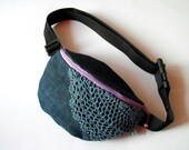 fanny pack/hip bag - denim with lace (big size)