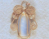 Opalite Angel Wire Wrapped Pendant