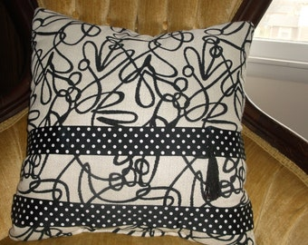 Black White Woven Accent Pillow With Polka Dot Black White Band With Black Accent Tassel, High End Fabrics & Trim, By Pillowinno, 1 Avail.