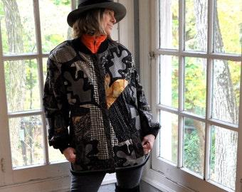 Koos Van Der Akker Falling Leaves Collage Jacket/Vintage 1980s/Couture Applique Patchwork Jacket/Leather Wool Cotton/Size Medium