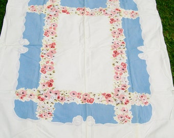 1950's TABLECLOTH Blue & Pink Florals 61x74 Rectangle Cotton Cutter