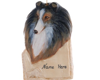 Sheltie Personalized Ornament your choice of name written on the name plate of this personalized Christmas ornament - made in the USA (238)