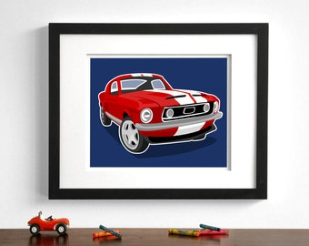 Childrens art - Ford Mustang - pick your colors - transportaion art Vintage sports car - boys nursery art prints