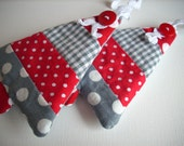 Fabric Christmas ornaments Set of 2 red white grey