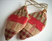 Fabric Christmas ornament Country colors Set of 3 Sand Burgundy classic