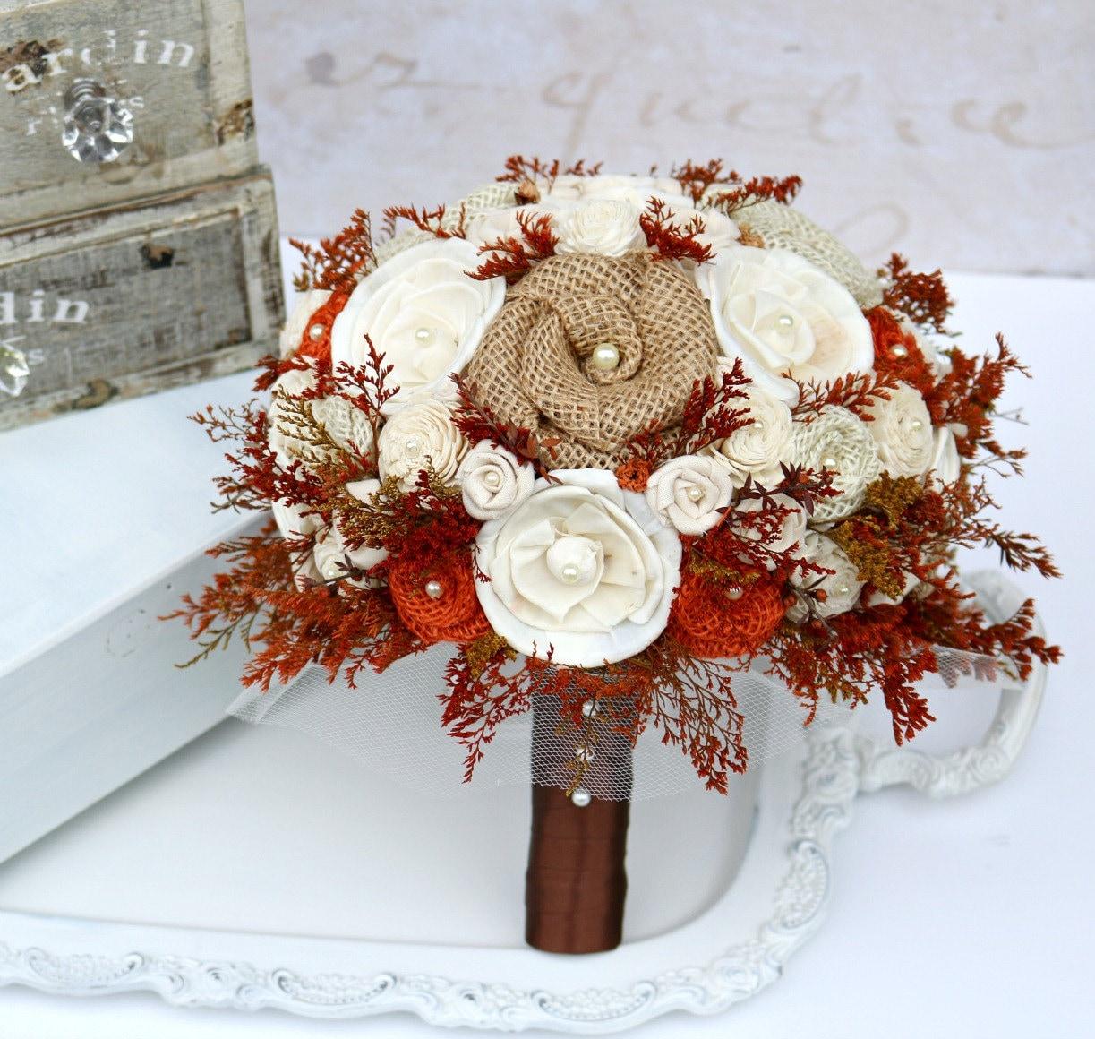 Fall Wedding Flowers List: Autumn Orange Bride Bouquet // Fall Bridal Bouquet Rustic