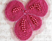 Red Pearl Beaded Bow Applique