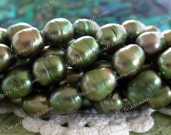 "Fresh Water Pearls, 1 ~ 16"" Strand Green Fresh Water Pearls, Olive Green Pearl Beads, Rice Shape Fresh Water Pearls FWP-093"